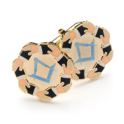 Masonic Touching Hands Around Table Cufflinks with Velvet Pouch