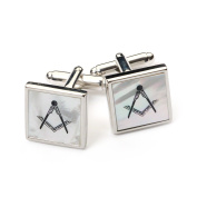 Masonic Mother of Pearl Cufflinks with Velvet Pouch