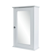 Tooltime® White Wall Mounted Wooden Bathroom Medicine Cabinet with Mirrored Door