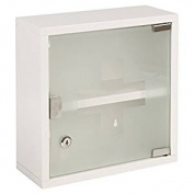 Wall Mounted Lockable Stainless Steel Medicine Cabinet With 2 Shelves & Frosted Glass Door