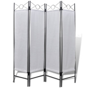 Anself 4-Panel Room Divider Folding Screen for Privacy White 160 x 180 cm