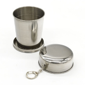 AsentechUK® 240ml Portable Stainless Steel Collapsible Cup Telescopic Wine Cups With Keychain Pocket Foldable Travel Outdoor Cup