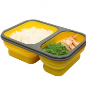 Hanerdun Silica Gel Bento Box Containers, Foldable Lunch Box Containers With 2 Compartments, Food Storage Containers With Fork & Spoon, Microwave & Freezer Safe