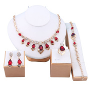 18K Gold Plated Crystal Chain Necklace Earrings Ring Bracelet Jewellery Set Africa Beads Costume