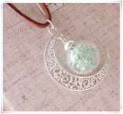 Hand-make Silver moon hanging green flowers Gift ornaments time gem sweater Pendant