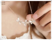 Three butterfly delicate gold necklace