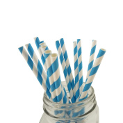 IPALMAY Blue and White Stripes Biodegradable Paper Straws for Birthday, Wedding and Party, Pack of 100