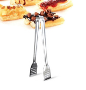 Distinct® Stainless Steel BBQ Tongs Kitchen Salad Fruits Tong Cooking Food Tongs Grill Clip Clamp Serving Utensil - L