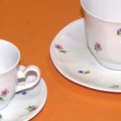 DB Set of 6 coffee cups with porcelain plate jastra Breakfast
