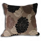 Riva Home Caprice Floral Chenille Cushion Cover, Black, 55 x 55 Cm