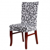 AIHOMETM Spandex Stretch Chaircase Dining Chair Cover for Wedding Reception Hotel Banquet Decoration - Grey Black