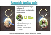 Beagle Dog On Grass - Cute Pet Design on Shopping Trolley Keyring - Token