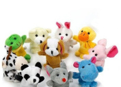 Qingsun 10 pcs Baby Soft Plush Animal Finger Puppet Set Toy Cloth Toddler Toys