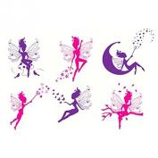 Wall Stickers / Wall Decal Fairy on moon angel dance - starlit flower nursery girls kindergarten