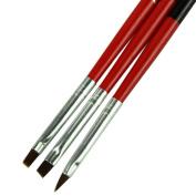 Amlaiworld 3pcs/lot Red Soft and Professional Pen Nail Art Brushes Tool Set