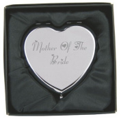 Engraved Mother of the Bride Heart Compact Hand Mirror with Gift Box!