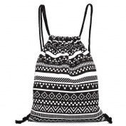Kolylong Unisex Retro Geometric Backpacks Printing Bags Drawstring Backpack