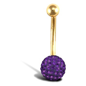 Jewelco London 9ct Yellow Gold Belly Bar with crystal-set end bead - Amethyst Purple