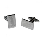 Mens Shirt Accessories - Rectangular Engraved Penguin Cufflinks (With Black Presentation Box) - Novelty Animal Theme Jewellery
