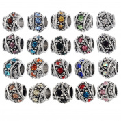 RUBYCA 60Pcs Silver Colour Tibetan Charm Beads Crystals Rhinestones fit European Charm Bracelet Mix Colour