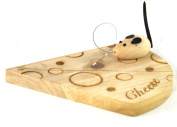 Small Wooden Cheese Board With Cutting Wire And Mouse Decoration