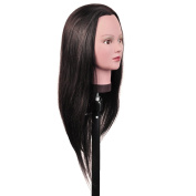 100% Human Hair 70cm Hairdresser Training Head Manikin Cosmetology Mannequin Doll (Table Clamp Holder Included) HH0220S