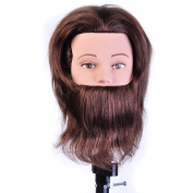 Male 100% Human Hair 20cm Hairdresser Training Head Manikin Cosmetology Mannequin Doll (Table Clamp Holder Included) HF0408S