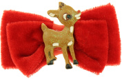 Capelli New York Ladies Rudolph Centre Small Velvet Bow Clip Red One Size