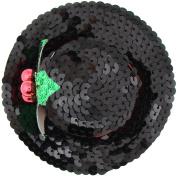 Capelli New York Ladies Sequin Hat and Mistletoe Clip Black One Size