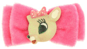 Capelli New York Ladies Clarice Centre Small Velvet Bow Clip Pink One Size