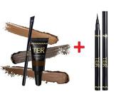 TER Masterpiece 3D Eyebrow Tattoo Waterproof, Medium Brown + TER I'm Matte Waterproof Pen Liquid Eyeliner, Black