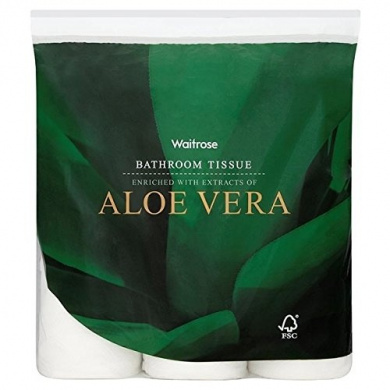 Aloe Vera Bathroom Tissue White Waitrose 9 per pack