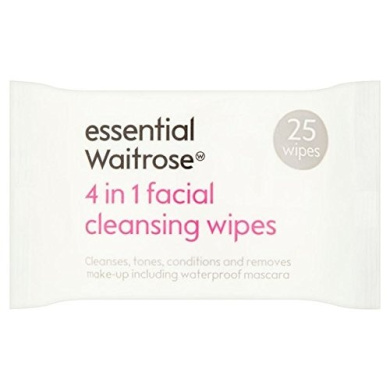 3 in 1 Facial Wipes essential Waitrose 25 per pack