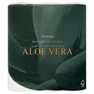 Aloe Vera Bathroom Tissue White Waitrose 4 per pack