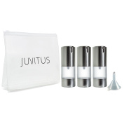 Airless Frosted Silver Pump Bottle Refillable Travel Container - 15ml (3 Pack) + Travel Bag and Funnel