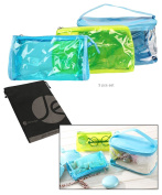 JAVOedge (3 Sizes Set) Cosmetic Coloured and Clear PVC Toiletry Bag Set with Zipper for Vacation, Bathroom, Storage