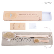 Nature Dry Body Brush & Dry Skin Brushing -AsaVea Reduces Cellulite Stress While Boosting Immune System Skins Appearance Circulation, All-Natural Materials Long Wood Handle Boar Bristle Brushy