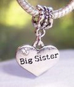 Beads Hut - Big Sister Heart Older Sibling Gift Dangle Bead fits European Charm Bracelets