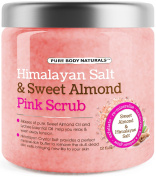 Body Scrub with Himalayan Salt - Deep Cleansing Exfoliator With Sweet Almond Oil - Moisturises, Nourishes Soothes & Promotes Glowing, Radiant Skin 350ml- Pure Body Naturals