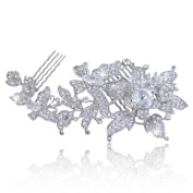 EVER FAITH® Wedding 13cm Butterfly Orchid Hair Comb Silver-Tone Clear Austrian Crystal