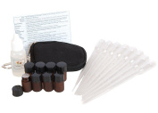 Essential Oil Keychain Kit with (8) 2ml Drams (Vials), Pipettes, Blank Cap Stickers, Quick Reference Ailment Card & 15ml of Fractionated Coconut Oil - Fits in a Purse, Bag or Glove Box