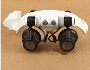 Home-organiser Tech Portable Replaceable Lense 10X 15X 20X 25X Headband Wearing LED Light Magnifying Glass Double Eye Jeweller Watch Clock Repair Loupe