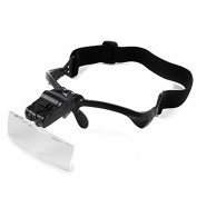 Home-organiser Tech Professional Headband Jeweller's LED Magnifier Visor with 5 Replaceable Lenses 1.0X to 3.5X