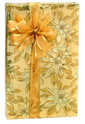 Gold Poinsettia Extra Long Goldeb Sparkle Gift Wrap Wrapping Paper Large 5.5m Roll