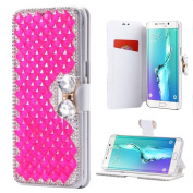 iPhone 6 Wallet Case,Inspirationc and Made Luxury 3D Bling Crystal Rhinestone Leather Purse Flip Card Pouch Stand Cover Case for iPhone 6/6S 12cm --Rose Red