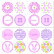 Lot 26 Studios Art-U-Stick Baby Girl Dots Wall Stickers, 30cm x 30cm