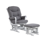 Dutailier ULTRAMOTION Sleigh Glider and Ottoman Combo, Grey/Dark Grey