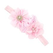 Nurbo Newborn Infant Baby Girl Cute Rose Flower Rhinestone Decoration Headband Headwrap Hair Band