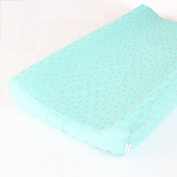 Metallic Silver Drops on Aqua Changing Pad Cover - Fits Standard Contoured Changing Pads