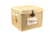 Jute Storage Basket with Lids, Organic, Collapsible, Storage Cube Container Bin for Toys, Clothes, Magazines, Books